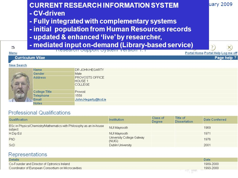 February 2009 CURRENT RESEARCH INFORMATION SYSTEM - CV-driven - Fully integrated with complementary systems - initial population from Human Resources records - updated & enhanced live by researcher, - mediated input on-demand (Library-based service)