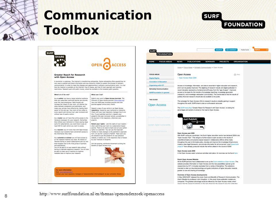 Communication Toolbox 8 http://www.surffoundation.nl/en/themas/openonderzoek/openaccess