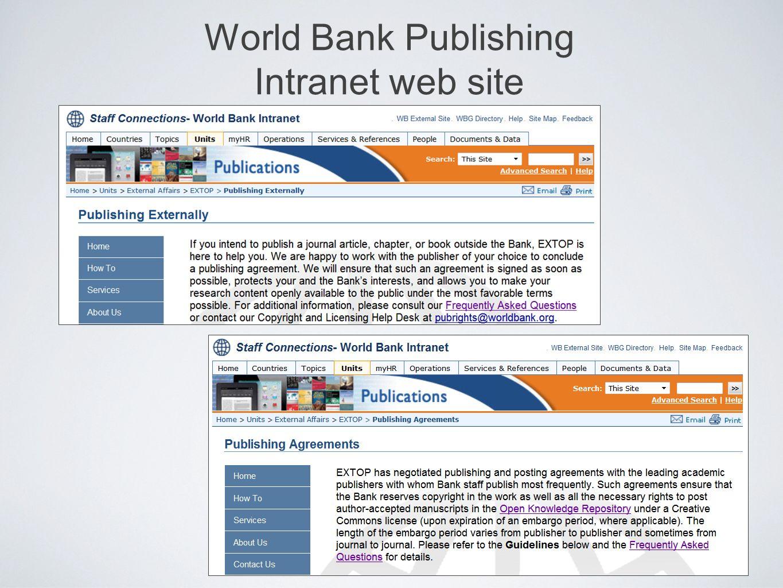 World Bank Publishing Intranet web site