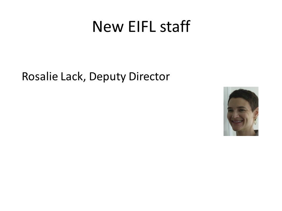 New EIFL staff Rosalie Lack, Deputy Director