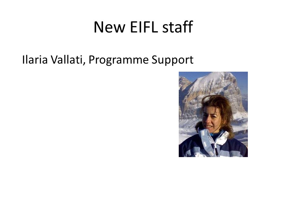 New EIFL staff Ilaria Vallati, Programme Support