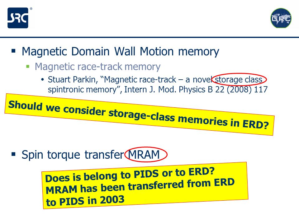 Magnetic Domain Wall Motion memory Magnetic race-track memory Stuart Parkin, Magnetic race-track – a novel storage class spintronic memory, Intern J.