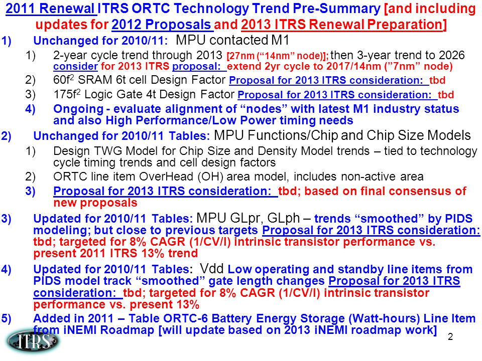 2 1)Unchanged for 2010/11: MPU contacted M1 1)2-year cycle trend through 2013 [27nm (14nm node)]; then 3-year trend to 2026 consider for 2013 ITRS pro