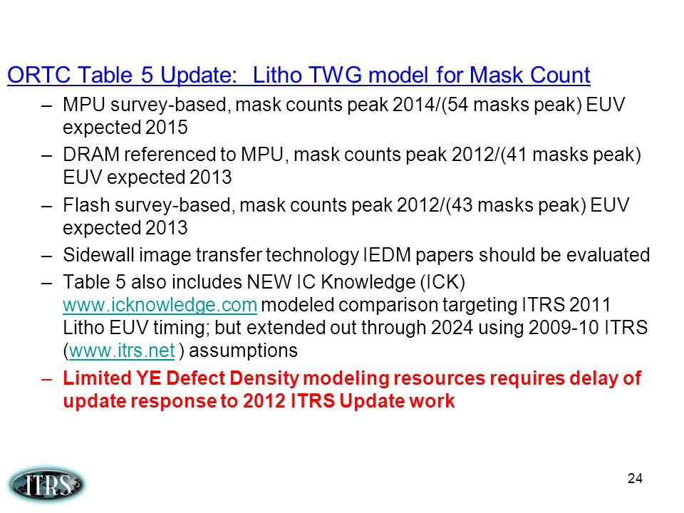 ORTC Table 5 Update: Litho TWG model for Mask Count –MPU survey-based, mask counts peak 2014/(54 masks peak) EUV expected 2015 –DRAM referenced to MPU