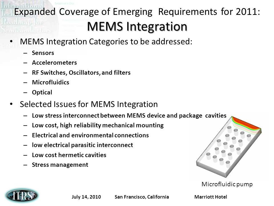 July 14, 2010 San Francisco, California Marriott Hotel MEMS Integration Expanded Coverage of Emerging Requirements for 2011: MEMS Integration MEMS Integration Categories to be addressed: – Sensors – Accelerometers – RF Switches, Oscillators, and filters – Microfluidics – Optical Selected Issues for MEMS Integration – Low stress interconnect between MEMS device and package cavities – Low cost, high reliability mechanical mounting – Electrical and environmental connections – low electrical parasitic interconnect – Low cost hermetic cavities – Stress management Microfluidic pump