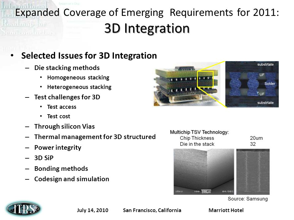 July 14, 2010 San Francisco, California Marriott Hotel 3D Integration Expanded Coverage of Emerging Requirements for 2011: 3D Integration Selected Issues for 3D Integration – Die stacking methods Homogeneous stacking Heterogeneous stacking – Test challenges for 3D Test access Test cost – Through silicon Vias – Thermal management for 3D structured – Power integrity – 3D SiP – Bonding methods – Codesign and simulation