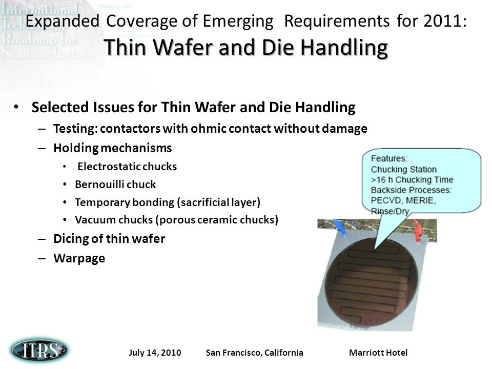 July 14, 2010 San Francisco, California Marriott Hotel Thin Wafer and Die Handling Expanded Coverage of Emerging Requirements for 2011: Thin Wafer and Die Handling Selected Issues for Thin Wafer and Die Handling – Testing: contactors with ohmic contact without damage – Holding mechanisms Electrostatic chucks Bernouilli chuck Temporary bonding (sacrificial layer) Vacuum chucks (porous ceramic chucks) – Dicing of thin wafer – Warpage