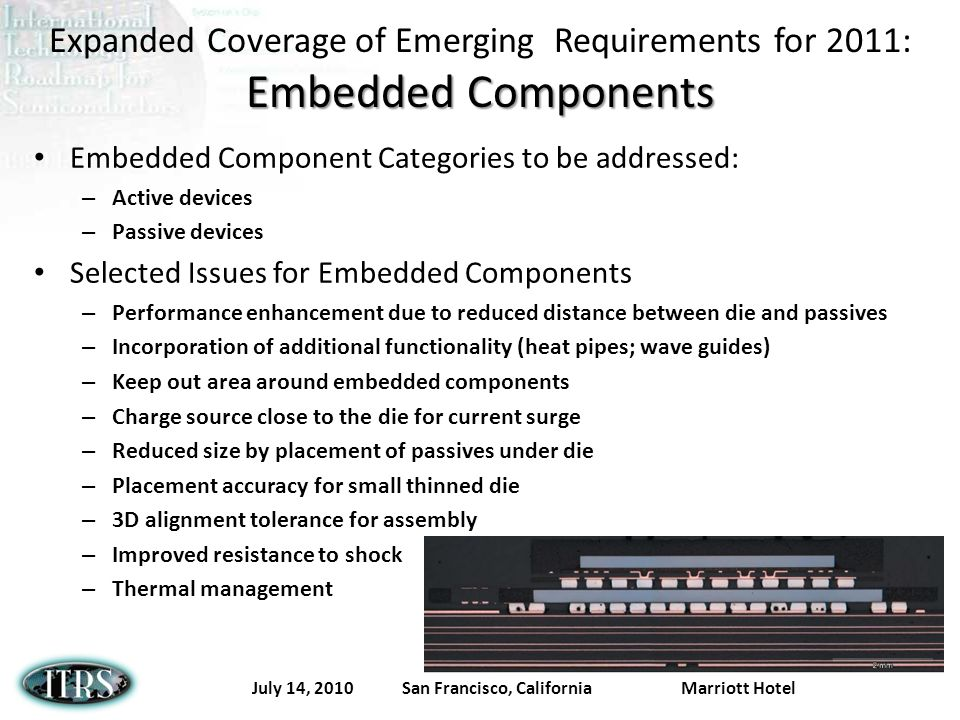 July 14, 2010 San Francisco, California Marriott Hotel Embedded Components Expanded Coverage of Emerging Requirements for 2011: Embedded Components Em