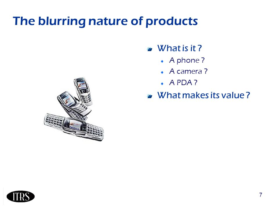 7 The blurring nature of products What is it A phone A camera A PDA What makes its value