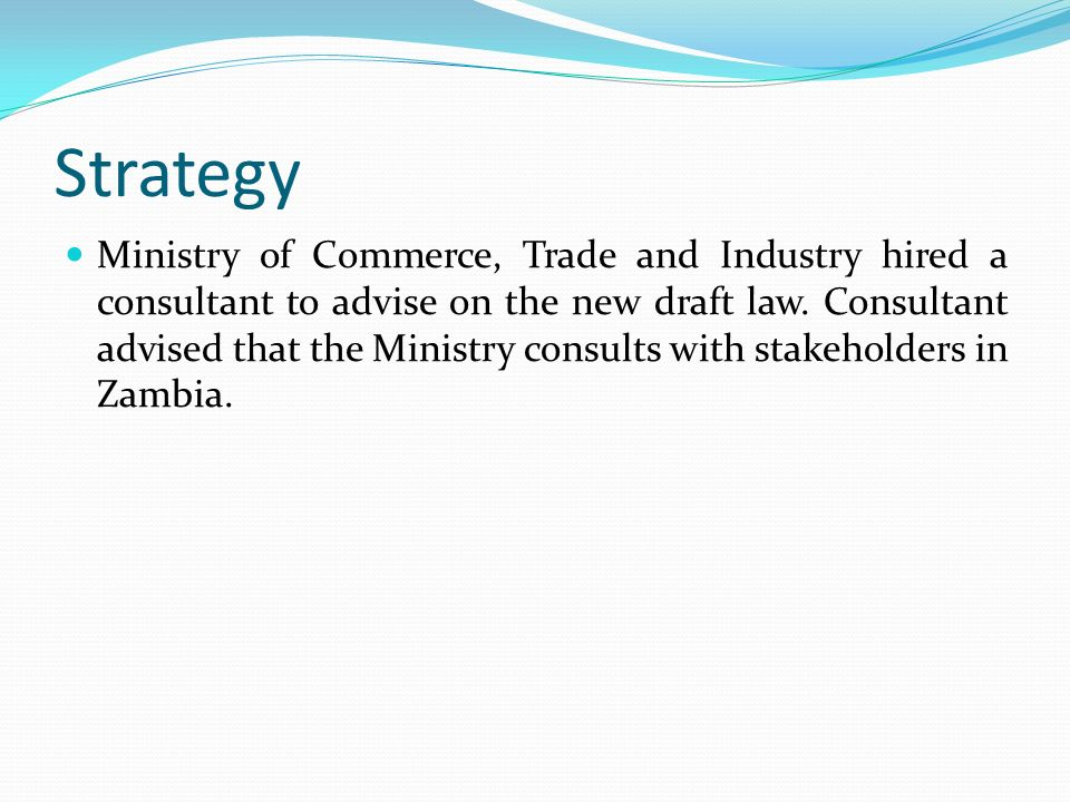 Zambian situation Zambia is preparing for implementation and is in the process of updating all its IP laws including the Copyright law.