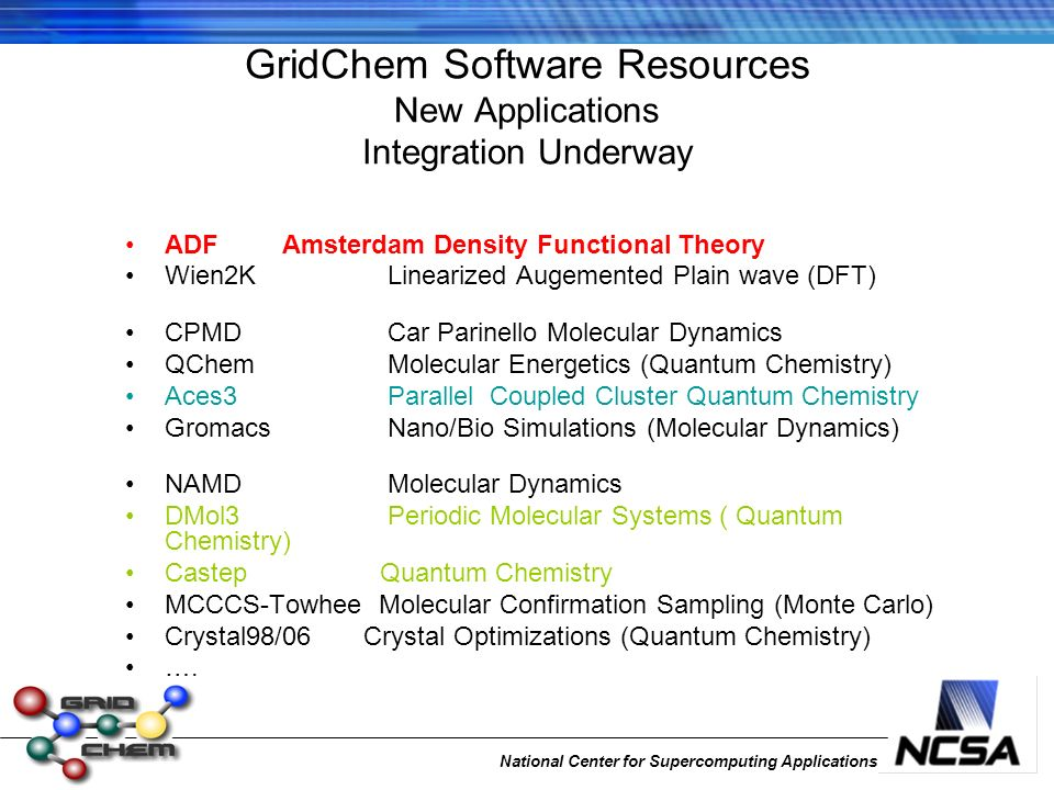 National Center for Supercomputing Applications GridChem Software Resources New Applications Integration Underway ADF Amsterdam Density Functional Theory Wien2K Linearized Augemented Plain wave (DFT) CPMD Car Parinello Molecular Dynamics QChem Molecular Energetics (Quantum Chemistry) Aces3 Parallel Coupled Cluster Quantum Chemistry Gromacs Nano/Bio Simulations (Molecular Dynamics) NAMD Molecular Dynamics DMol3 Periodic Molecular Systems ( Quantum Chemistry) Castep Quantum Chemistry MCCCS-Towhee Molecular Confirmation Sampling (Monte Carlo) Crystal98/06 Crystal Optimizations (Quantum Chemistry) ….