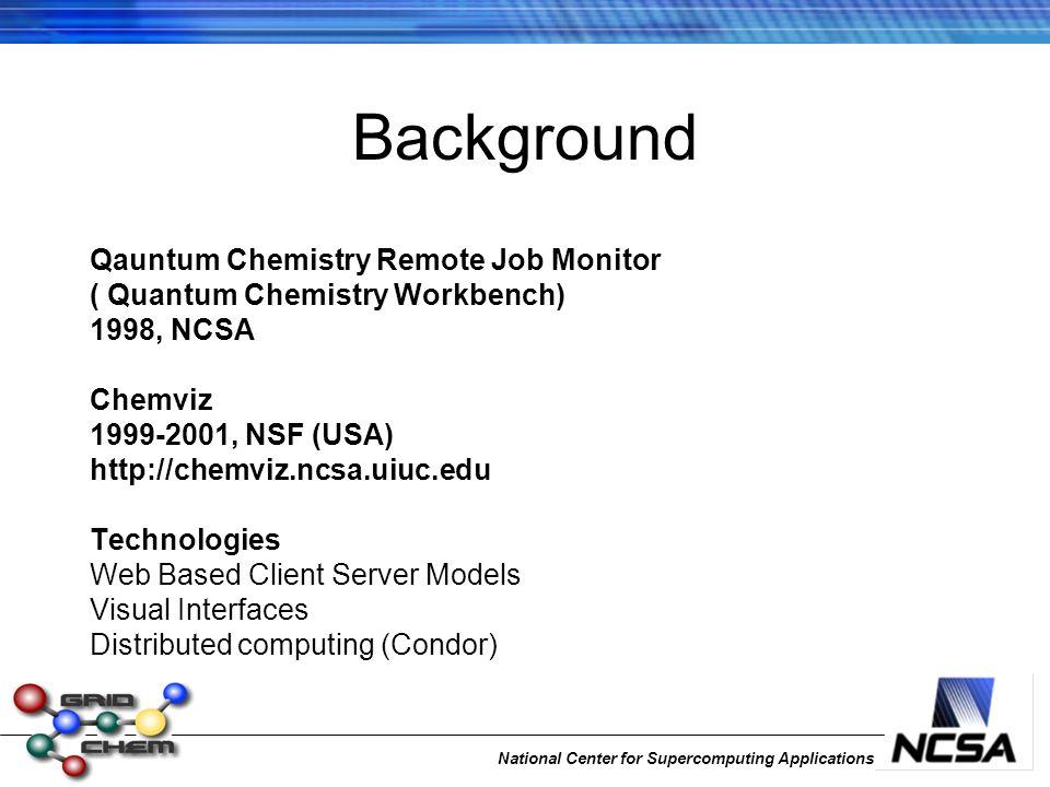 National Center for Supercomputing Applications Background Qauntum Chemistry Remote Job Monitor ( Quantum Chemistry Workbench) 1998, NCSA Chemviz 1999-2001, NSF (USA) http://chemviz.ncsa.uiuc.edu Technologies Web Based Client Server Models Visual Interfaces Distributed computing (Condor)