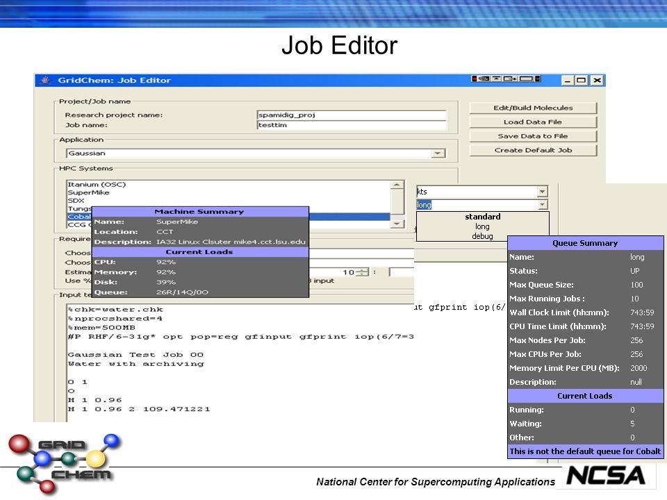 National Center for Supercomputing Applications Job Editor
