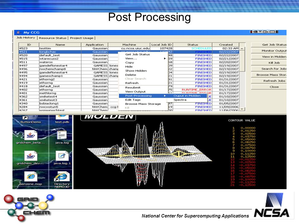 National Center for Supercomputing Applications Post Processing
