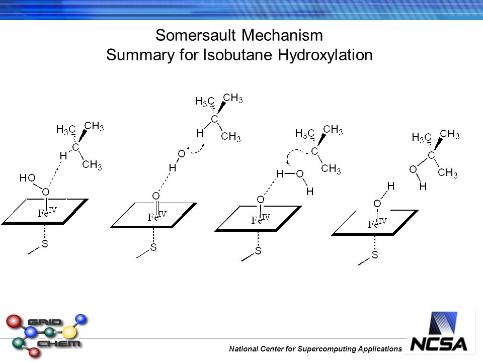 National Center for Supercomputing Applications Somersault Mechanism Summary for Isobutane Hydroxylation