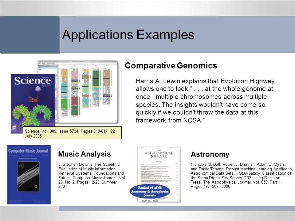Applications Examples Harris A. Lewin explains that Evolution Highway allows one to look