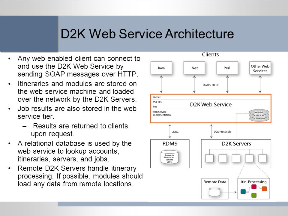 D2K Web Service Architecture Any web enabled client can connect to and use the D2K Web Service by sending SOAP messages over HTTP. Itineraries and mod