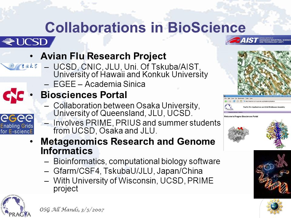 OSG All Hands, 3/5/2007 Collaborations in BioScience Avian Flu Research Project –UCSD, CNIC, JLU, Uni.