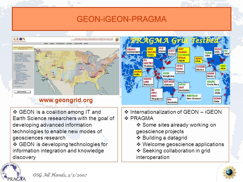 OSG All Hands, 3/5/2007 GEON-iGEON-PRAGMA GEON is a coalition among IT and Earth Science researchers with the goal of developing advanced information technologies to enable new modes of geosciences research GEON is developing technologies for information integration and knowledge discovery   Internationalization of GEON – iGEON PRAGMA Some sites already working on geoscience projects Building a datagrid Welcome geoscience applications Seeking collaboration in grid interoperation