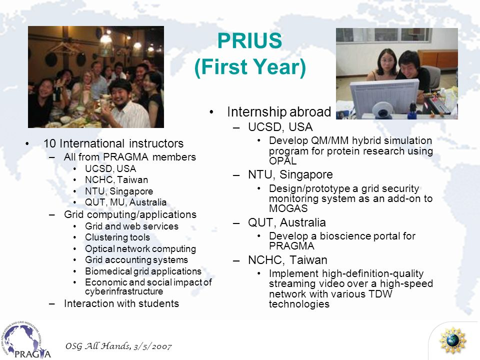 OSG All Hands, 3/5/2007 PRIUS (First Year) 10 International instructors –All from PRAGMA members UCSD, USA NCHC, Taiwan NTU, Singapore QUT, MU, Australia –Grid computing/applications Grid and web services Clustering tools Optical network computing Grid accounting systems Biomedical grid applications Economic and social impact of cyberinfrastructure –Interaction with students Internship abroad –UCSD, USA Develop QM/MM hybrid simulation program for protein research using OPAL –NTU, Singapore Design/prototype a grid security monitoring system as an add-on to MOGAS –QUT, Australia Develop a bioscience portal for PRAGMA –NCHC, Taiwan Implement high-definition-quality streaming video over a high-speed network with various TDW technologies