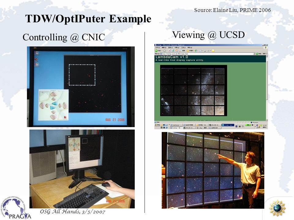OSG All Hands, 3/5/2007 Controlling @ CNIC Viewing @ UCSD TDW/OptIPuter Example Source: Elaine Liu, PRIME 2006