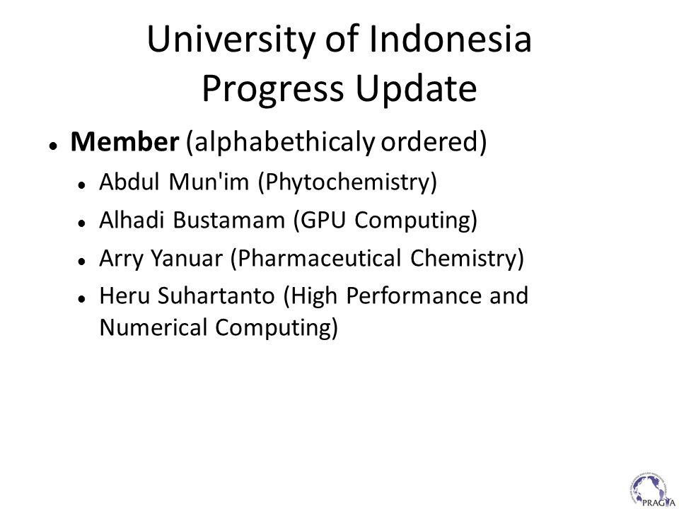 University of Indonesia Progress Update Member (alphabethicaly ordered) Abdul Mun'im (Phytochemistry) Alhadi Bustamam (GPU Computing) Arry Yanuar (Pha