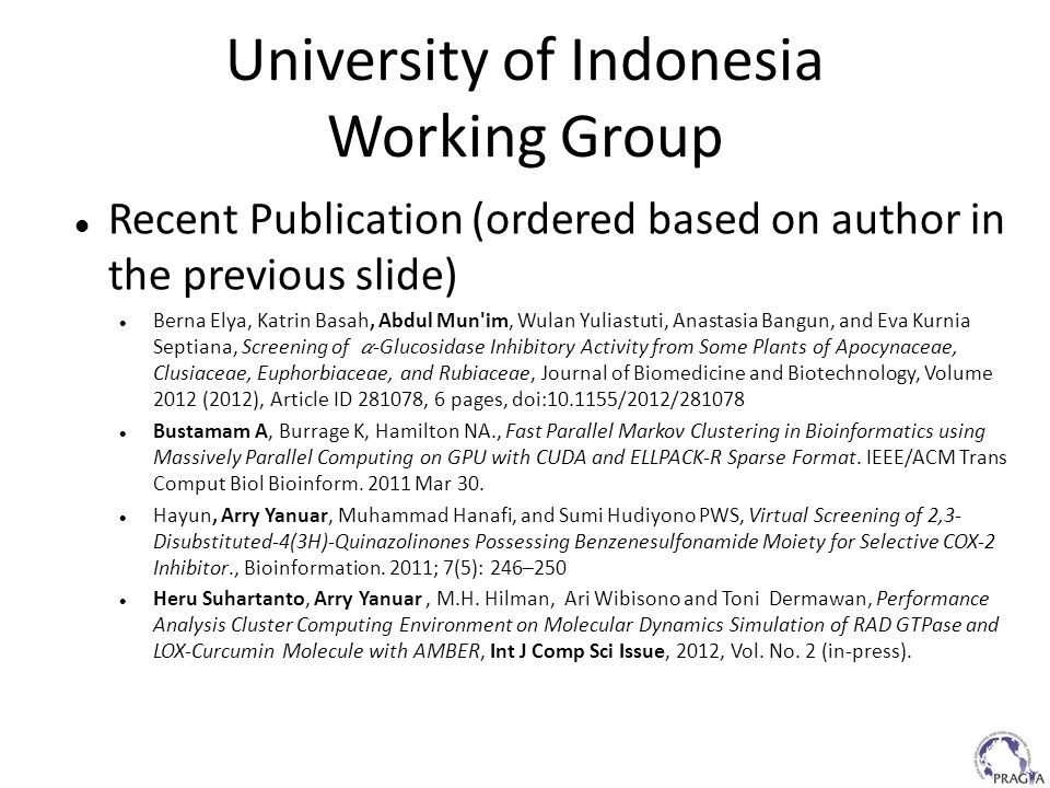 University of Indonesia Working Group Recent Publication (ordered based on author in the previous slide) Berna Elya, Katrin Basah, Abdul Mun'im, Wulan