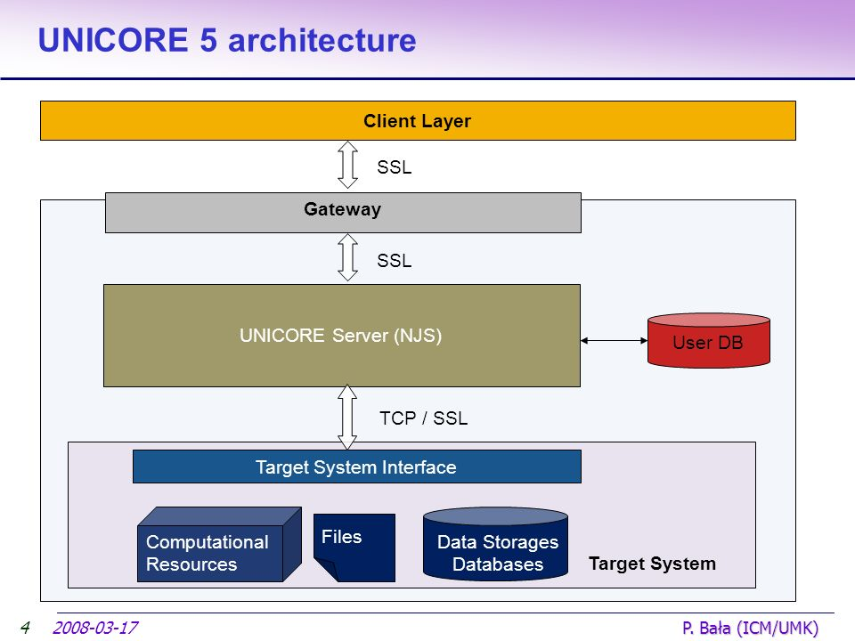 2008-03-17 P. Bała (ICM/UMK) UNICORE 5 architecture 4 Computational Resources Data Storages Databases Client Layer Target System Interface Target Syst