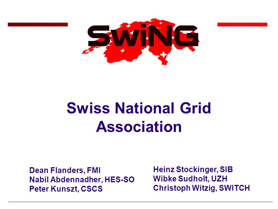 Swiss National Grid Association Dean Flanders, FMI Nabil Abdennadher, HES-SO Peter Kunszt, CSCS Heinz Stockinger, SIB Wibke Sudholt, UZH Christoph Wit