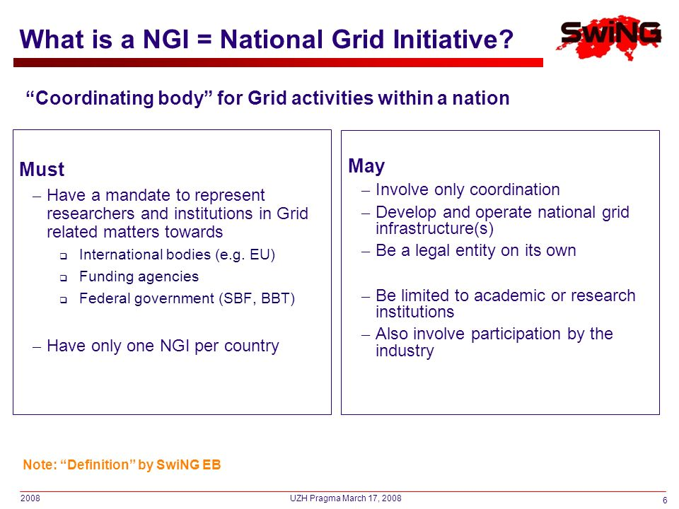 2008 6 UZH Pragma March 17, 2008 What is a NGI = National Grid Initiative? Must – Have a mandate to represent researchers and institutions in Grid rel