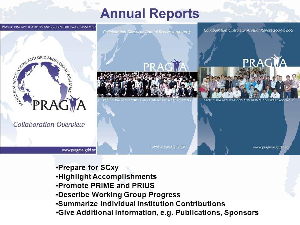Annual Reports Prepare for SCxy Highlight Accomplishments Promote PRIME and PRIUS Describe Working Group Progress Summarize Individual Institution Con