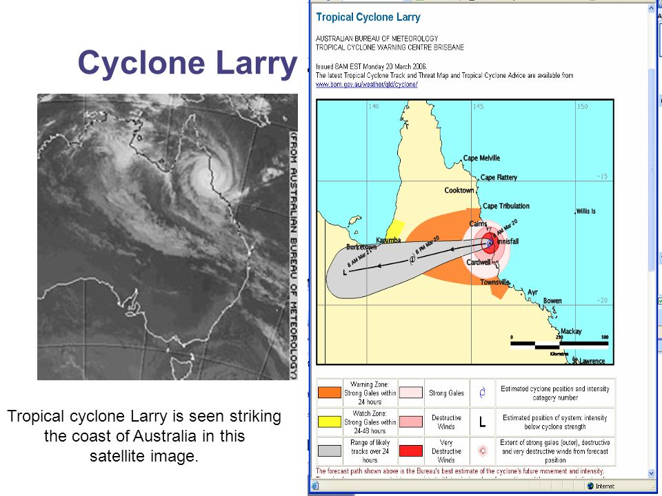 Cyclone Larry Tropical cyclone Larry is seen striking the coast of Australia in this satellite image.