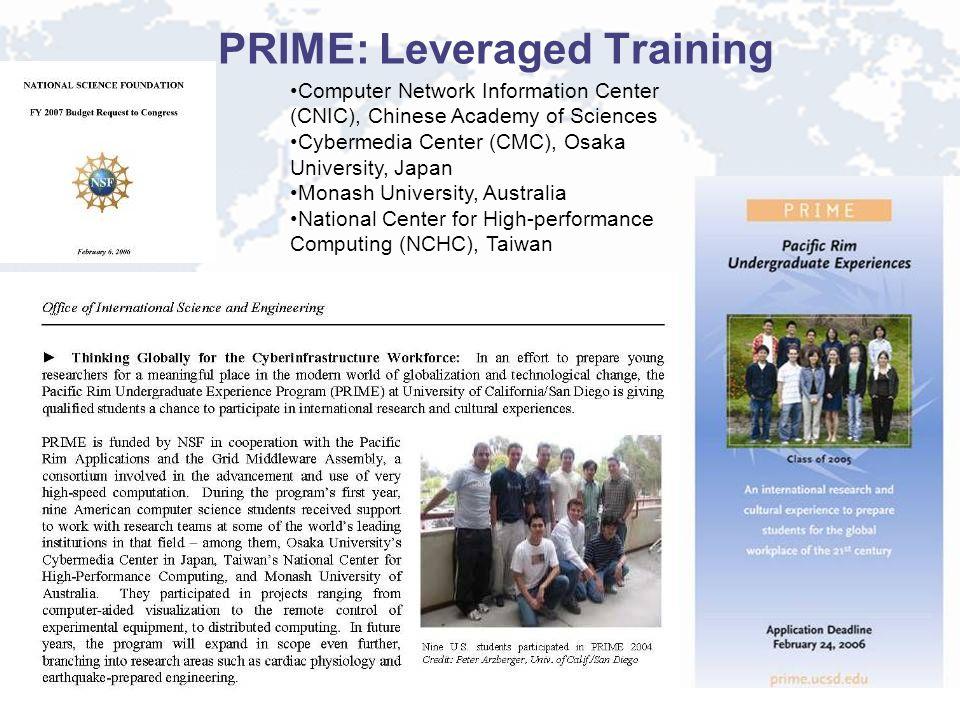 PRIME: Leveraged Training Computer Network Information Center (CNIC), Chinese Academy of Sciences Cybermedia Center (CMC), Osaka University, Japan Mon