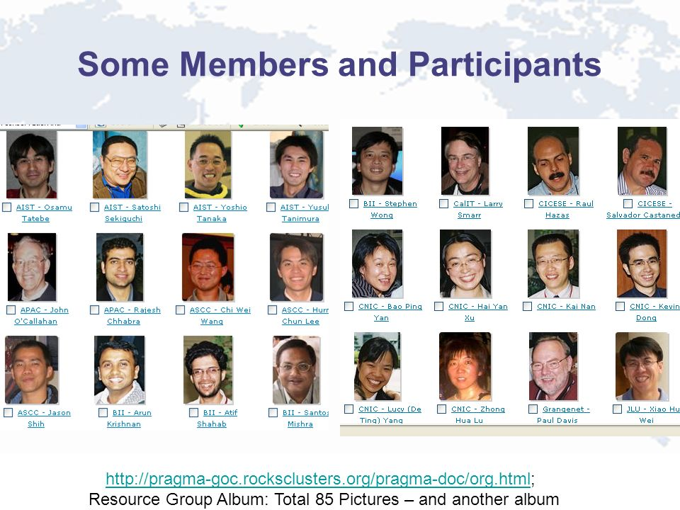 Some Members and Participants http://pragma-goc.rocksclusters.org/pragma-doc/org.htmlhttp://pragma-goc.rocksclusters.org/pragma-doc/org.html; Resource Group Album: Total 85 Pictures – and another album