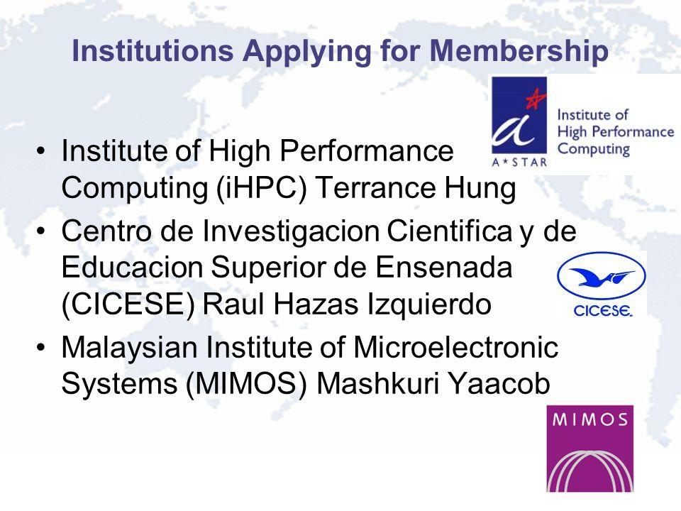 Institutions Applying for Membership Institute of High Performance Computing (iHPC) Terrance Hung Centro de Investigacion Cientifica y de Educacion Superior de Ensenada (CICESE) Raul Hazas Izquierdo Malaysian Institute of Microelectronic Systems (MIMOS) Mashkuri Yaacob