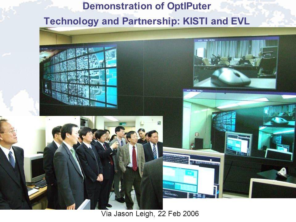 Demonstration of OptIPuter Technology and Partnership: KISTI and EVL Via Jason Leigh, 22 Feb 2006