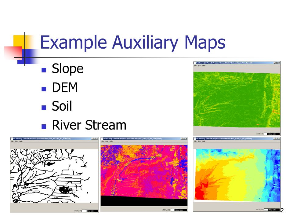 32 Example Auxiliary Maps Slope DEM Soil River Stream