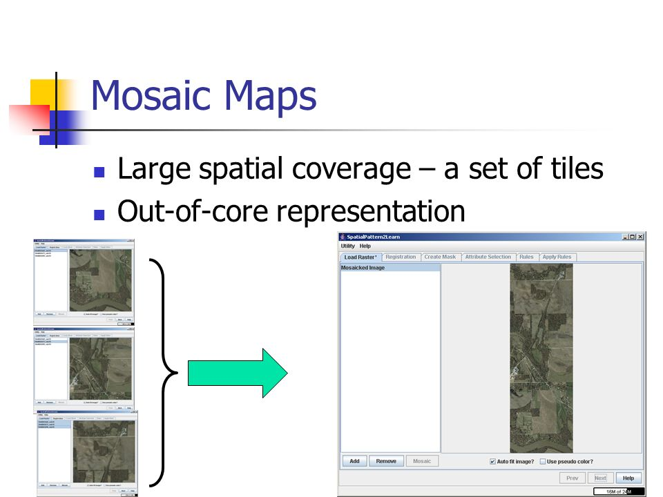 34 Mosaic Maps Large spatial coverage – a set of tiles Out-of-core representation