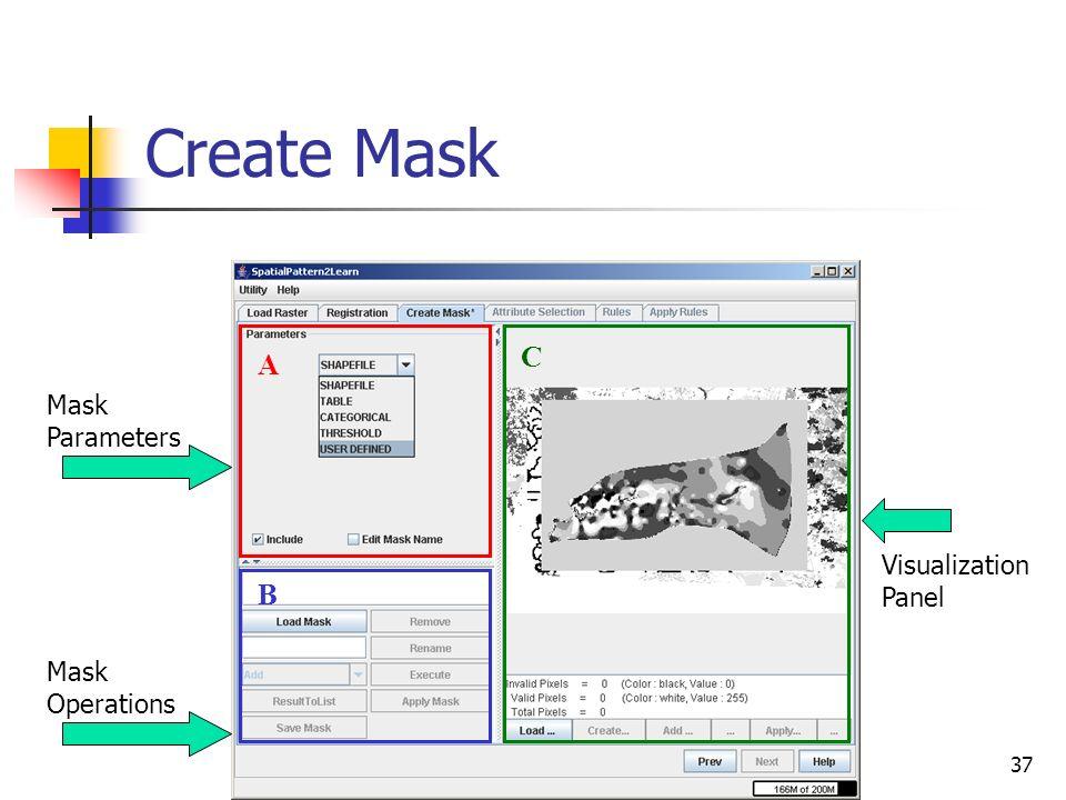 37 Create Mask A B C Mask Operations Mask Parameters Visualization Panel