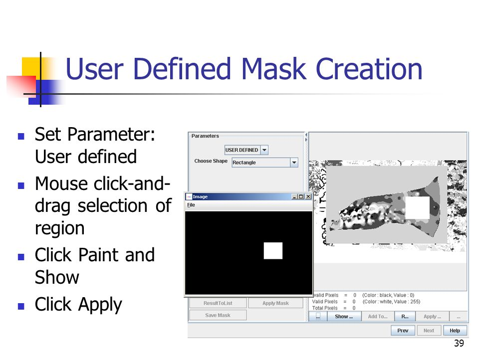 39 User Defined Mask Creation Set Parameter: User defined Mouse click-and- drag selection of region Click Paint and Show Click Apply