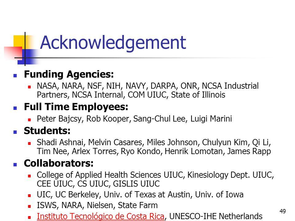 49 Acknowledgement Funding Agencies: NASA, NARA, NSF, NIH, NAVY, DARPA, ONR, NCSA Industrial Partners, NCSA Internal, COM UIUC, State of Illinois Full