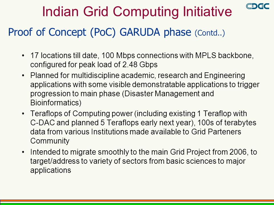 Proof of Concept (PoC) GARUDA phase (Contd..) 17 locations till date, 100 Mbps connections with MPLS backbone, configured for peak load of 2.48 Gbps Planned for multidiscipline academic, research and Engineering applications with some visible demonstratable applications to trigger progression to main phase (Disaster Management and Bioinformatics) Teraflops of Computing power (including existing 1 Teraflop with C-DAC and planned 5 Teraflops early next year), 100s of terabytes data from various Institutions made available to Grid Parteners Community Intended to migrate smoothly to the main Grid Project from 2006, to target/address to variety of sectors from basic sciences to major applications Indian Grid Computing Initiative