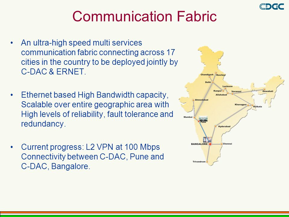 Communication Fabric An ultra-high speed multi services communication fabric connecting across 17 cities in the country to be deployed jointly by C-DAC & ERNET.