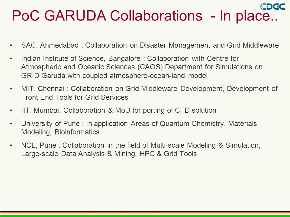 PoC GARUDA Collaborations - In place..