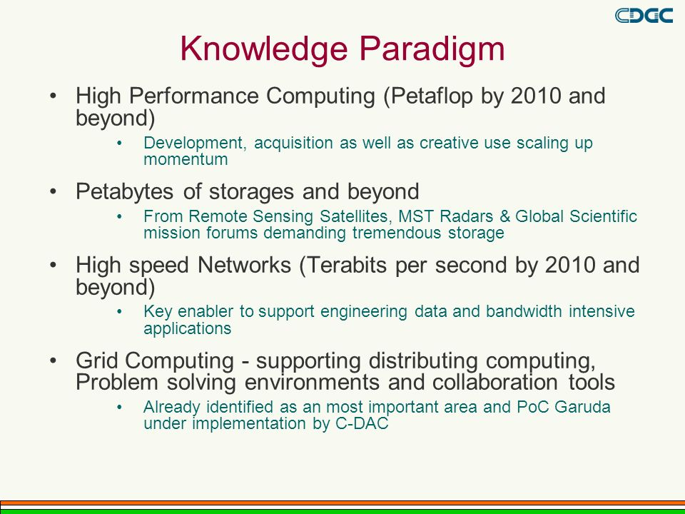 Knowledge Paradigm High Performance Computing (Petaflop by 2010 and beyond) Development, acquisition as well as creative use scaling up momentum Petabytes of storages and beyond From Remote Sensing Satellites, MST Radars & Global Scientific mission forums demanding tremendous storage High speed Networks (Terabits per second by 2010 and beyond) Key enabler to support engineering data and bandwidth intensive applications Grid Computing - supporting distributing computing, Problem solving environments and collaboration tools Already identified as an most important area and PoC Garuda under implementation by C-DAC