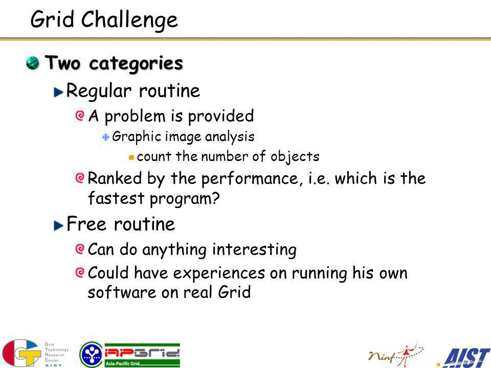 Grid Challenge Two categories Regular routine A problem is provided Graphic image analysis count the number of objects Ranked by the performance, i.e.