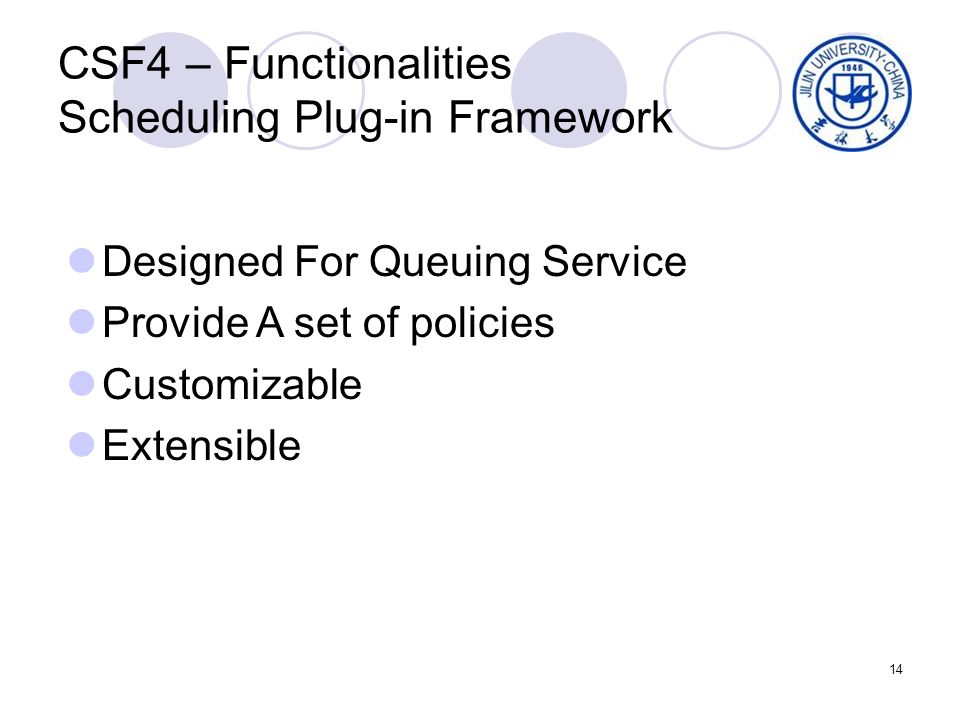 14 CSF4 – Functionalities Scheduling Plug-in Framework Designed For Queuing Service Provide A set of policies Customizable Extensible