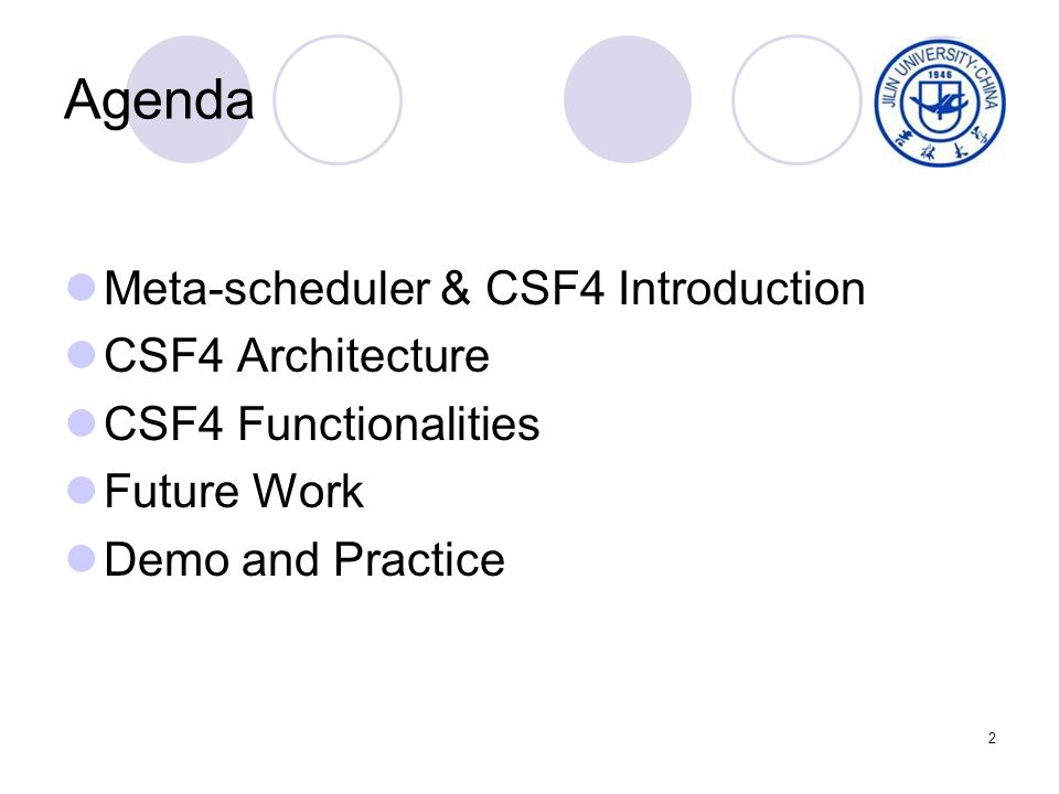 2 Agenda Meta-scheduler & CSF4 Introduction CSF4 Architecture CSF4 Functionalities Future Work Demo and Practice