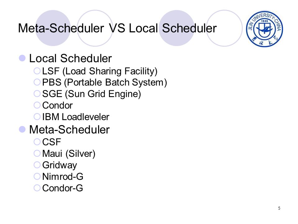 5 Meta-Scheduler VS Local Scheduler Local Scheduler LSF (Load Sharing Facility) PBS (Portable Batch System) SGE (Sun Grid Engine) Condor IBM Loadlevel