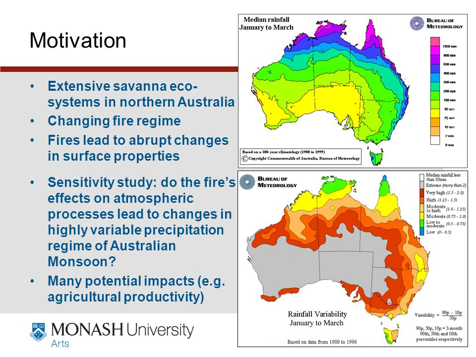 www.monash.edu.au 6 Motivation Extensive savanna eco- systems in northern Australia Changing fire regime Fires lead to abrupt changes in surface properties Sensitivity study: do the fires effects on atmospheric processes lead to changes in highly variable precipitation regime of Australian Monsoon.